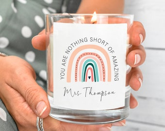 Personalised Teacher Candle, Appreciation Gift, Teacher Gifts, Colleague Gift, Personalised Candles, Teaching Assistant Gifts, Thank You