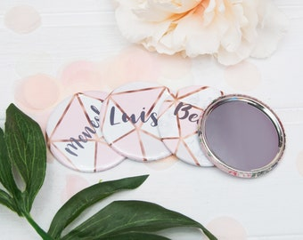 Personalized Hen Party Rose Gold Mirror Geometric, Compact Mirror, Bridesmaid Gift, Custom Bridesmaid Gift, Bride Tribe, Bridesmaid Mirror,