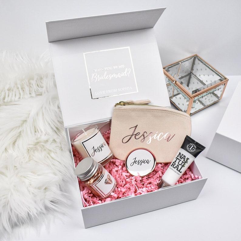 Personalised Rose Gold Bridesmaid Proposal Gift Box Luxury image 0