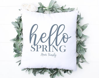 Personalised Hello Spring Cushion, Spring Home Decorations, Spring Cushion, Hello Spring Decor, Custom Family Cushion, Customise Spring Gift