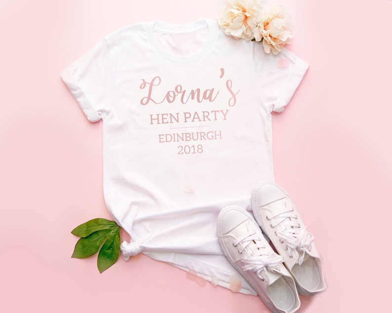 82bee6b9c33a3 Personalised Hen Party T-shirt, Rose Gold Hen Night T-shirts, Rose Gold Hen  Party Tops, Bride To Be Tops, Rose Gold Bachelorette Party Tops,