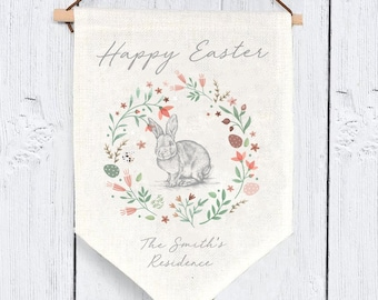 Personalised Easter Wall Hanging, Personalised Easter Bunting, Personalised Easter Flag, Family Easter Decor, Happy Easter Sign, Easter Gift
