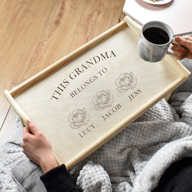 Personalised Wooden Breakfast Tray Mother's Day Tea Tray image 0
