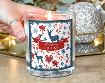 Personalised Christmas Candle, Christmas Candle Gift, Scandi Christmas Gift, Xmas Scented Candle, Holiday Decor, Merry Christmas Gift,