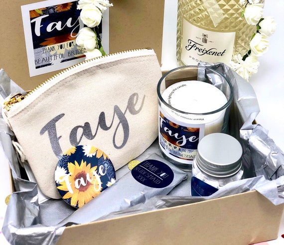 Personalised Bridesmaid Gift Box Filled Thank You Bridesmaid Box Sunflower Bridesmaid Gift Set Wedding Thank You Gifts Filled Gift Set