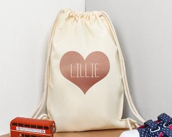 Personalised Gym Bag Kids, Girls Rose Gold Gym Bag, Girls Drawstring Bag, School Bag, Heart School PE Bag, Heart Pump Bag, Nursery Bag