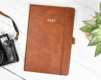 Personalised Brown Leather Notebook, Custom Notebook, Vegan Leather Notebook, Daily Planner, Personalised Leather Journal, Custom Organiser