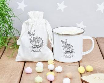 Personalised Easter Mug Set, Easter Bunny Mug, Vintage Rabbit Mug, Easter Gift Her, Mini Egg Bag, Personalised Easter Gift Set, Easter Mug