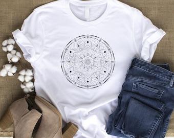 Mandala Flower T-shirt, Mandala Shirt, Womens Boho Tee, Bohemian Casual T Shirt Women, Mandala Gift for Her, Lounge Wear Tshirt, Hippie Top