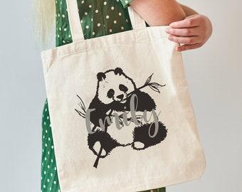 Panda Personalised Tote Bag, Gift For Girl, Panda Canvas Tote Bag, Panda Style Tote Bag, On Trend Tote Bag, Panda Tote Bag,