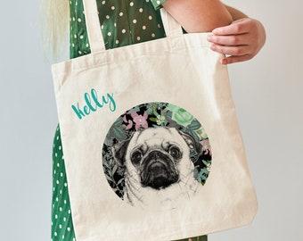 Pug Dog Gift, Pug Gifts, Pug Tote Bag, Personalised Pug Bag, Teenager Gift, Dog Lover Gift, Dog Bag, Gift For Her,