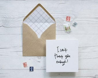 I/'m so lucky to have a bestie like you hand lettered best friend greeting card with kraft luxury envelope