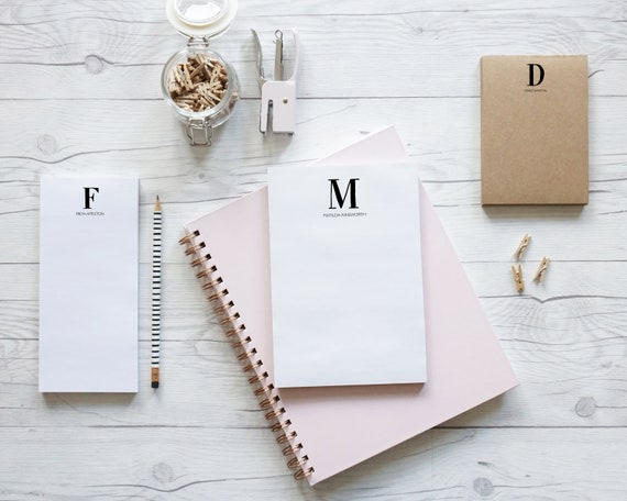 Monogram, hand lettered personalised luxury notepads in three size and two paper options