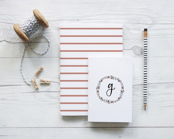 Monogram Floral Wreath and Stripe, set of two handcrafted notebooks