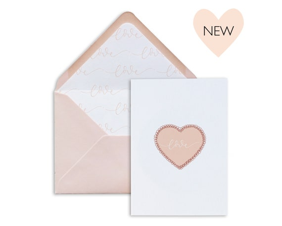 Valentine's Day love heart, A6 greeting card set