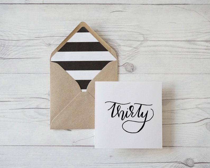 hand lettered thirtieth birthday card with kraft luxury envelope Thirty