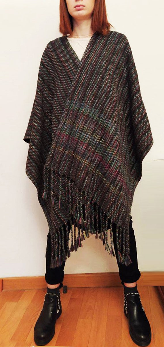 Wool mantle petrol blue and green OOAK Men/'s Poncho Gray One size Unisex Cape multicolor ruana Woman/'s poncho Handwoven Blanket