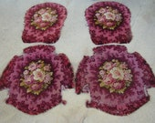4 French antique top, armchairs, silk velvet 19th-century floral decor tapestry style
