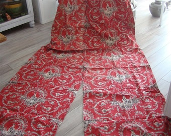 Second other 2 French antique curtains red white Toile De Jouy 19th-century