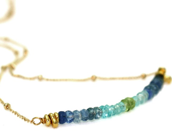 Ombre Peridot and Sapphire Gemstone Bar Necklace. Ocean Inspired. In Gold or Silver.