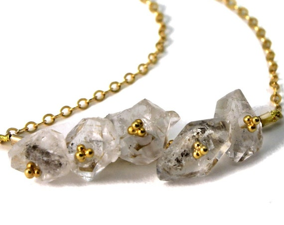 Herkimer Diamond Necklace. June Birthstone. Five Rough Herkimer Diamonds on a Gold Filled or Sterling Silver chain. NS-1925