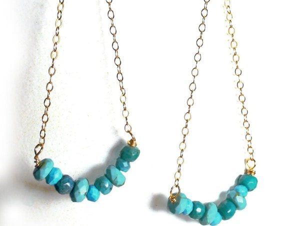 Turquoise and Gold earrings. Long Geometric Triangle Earrings with Delicate Gold Filled Chain.
