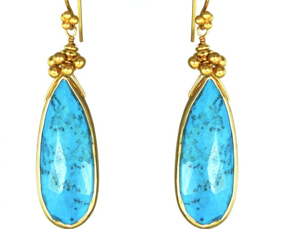 Jubita. Turquoise and Gold Teardrop Earrings . Exotic Long Earrings. December Birthstone Earrings.  Gold Filled or Sterling Silver.