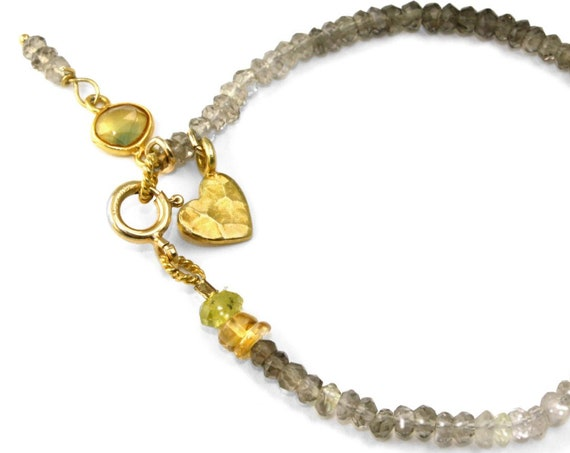 Valentine's Day Bracelet. Shaded Smoky Topaz, Golden Sapphire and Gold Vermeil Heart.
