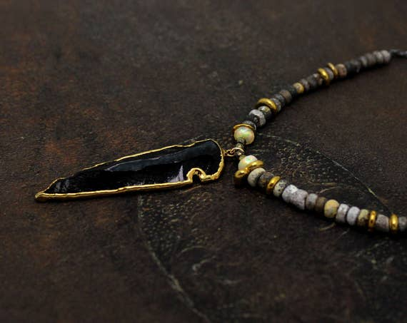 Arrowhead Necklace, Gold Dipped Obsidian Necklace. Rustic Boho Necklace. Ancient Roman Beads, Mixed Metals N2362-GB