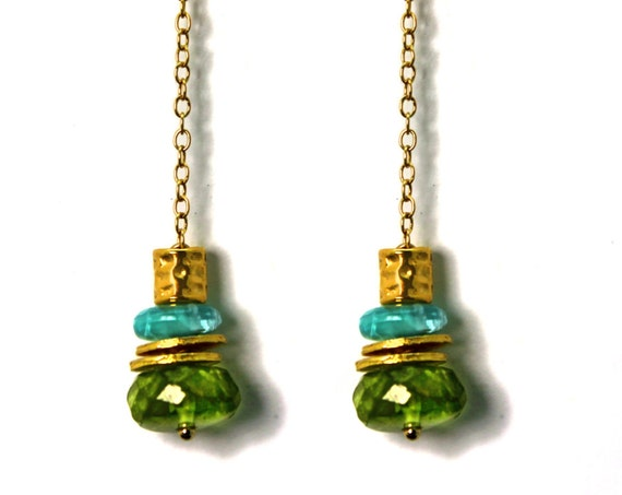 Peridot and Apatite Earrings. Gemstone Dangle Drop Earrings. Gold Filled or Sterling Silver. E-2208