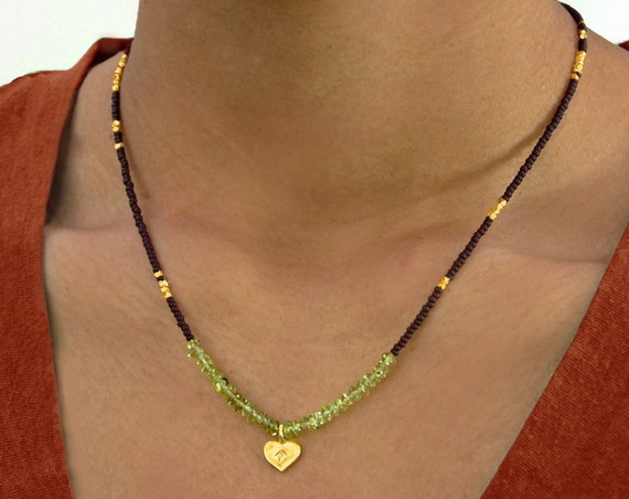 Peridot and Gold Lotus Heart Necklace for August Birthdays. Earthy, spiritual....Namaste.