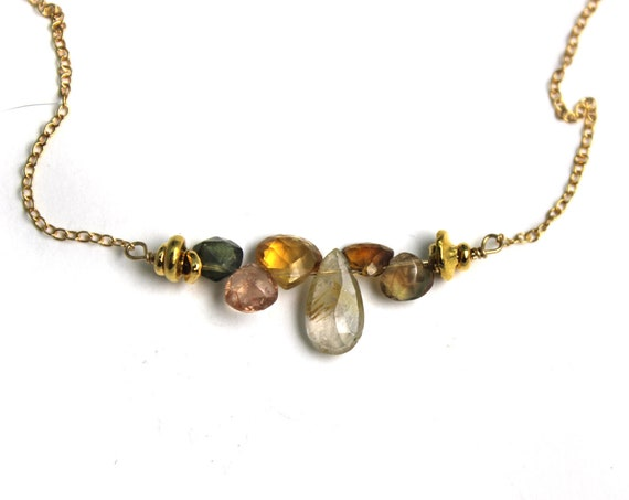 Multi Gemstone Bar Necklace.  Gold Filled or Sterling Silver. Golden Rutilated Quartz, Tourmaline, and Citrine.