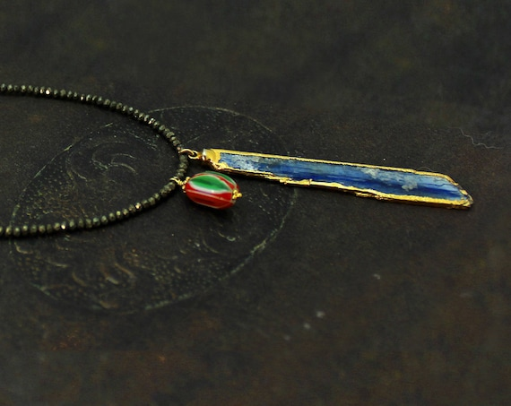 OOAK. Raw Kyanite Necklace, Gold Dipped Kyanite Slice Necklace. African Trade Bead. Long Pyrite Necklace.  N2500