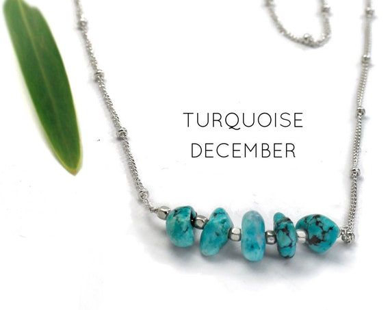 December Birthstone. Turquoise Necklace. Raw Stone Necklace. Healing Crystals. Travellers' Protection. Gold Filled, Silver, Rose Gold. N2620