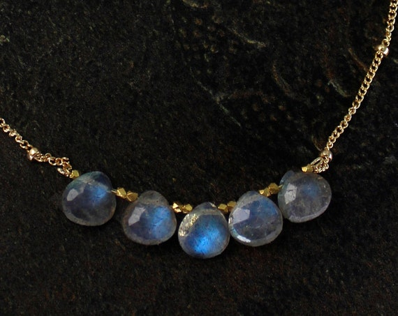Labradorite Necklace. Blue Flashy Stones. Gift for Grandma. Healing Stones. In Gold Filled, Silver, Rose Gold. N2606-HD