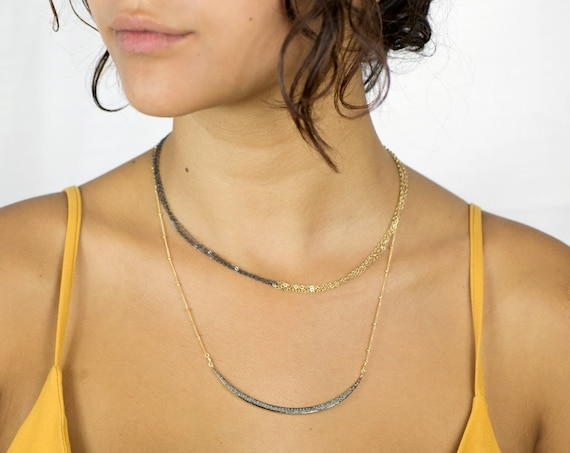 Pave Diamond Necklace Set. Crescent Moon Necklace. Two Necklaces. Mixed Metals. Gold and Black.  Layering Necklaces. Moon Goddess.  N2187