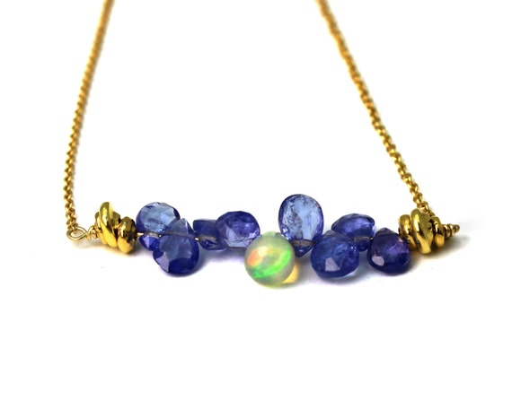 Ethiopian Fire Opal and Tanzanite Bar Necklace. Delicate Briolettes. Gold Filled or Sterling Silver.