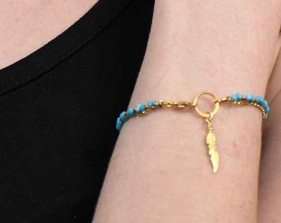 Turquoise Charm Bracelet. December Birthstone. Healing Stones, Double Strand Bracelet. Dainty Jewelry. Gold Filled, Silver, Rose Gold. B2602