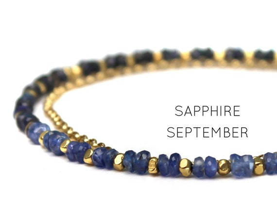 September Birthstone. Sapphire Charm Bracelet.  Healing Stones. Double Strand Bracelet. Dainty Jewelry. Gold Filled, Silver, Rose Gold.