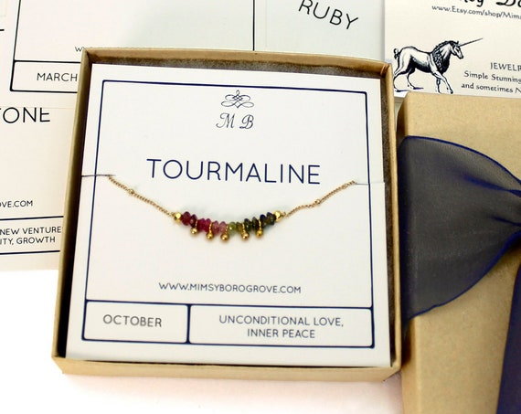 Watermelon Tourmaline Choker. October Birthstone. Dainty Gift for Sister. Adjustable Choker. In Gold Filled, Silver, Rose Gold. N2607