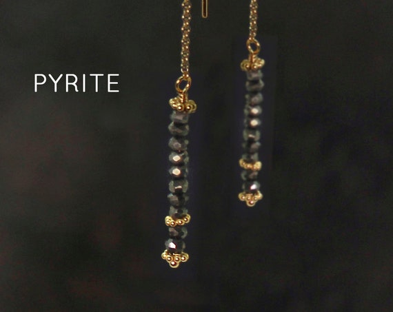 Pyrite, Threader Earrings.  Healing Stones,  Threader with Arch. Long Earrings, Gold Filled or Silver, E2622
