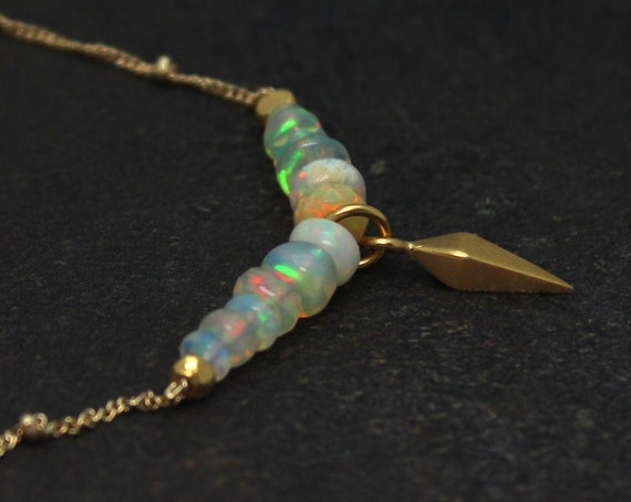 Ethiopian Fire Opal Spike Necklace in Gold or Silver.