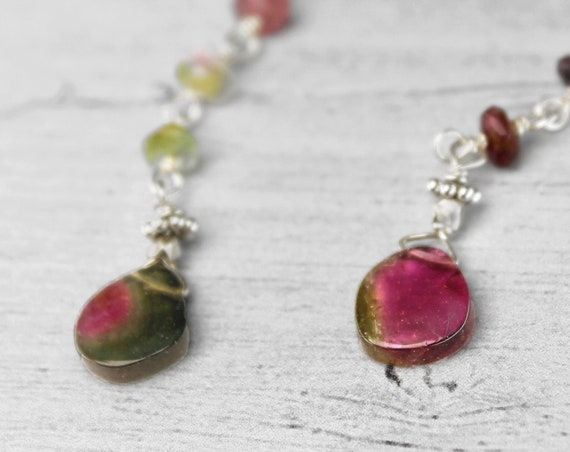 Tourmaline Slice Earrings. Long Watermelon Tourmaline Earrings. Wire Wrapped Rosary. Pink and green. October Birthstone.  E2867