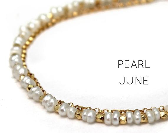 Pearl Charm Bracelet. June Birthstone. Healing Stones, Double Strand Bracelet.  Bridesmaid Gift. Gold Filled, Silver, Rose Gold. B2602