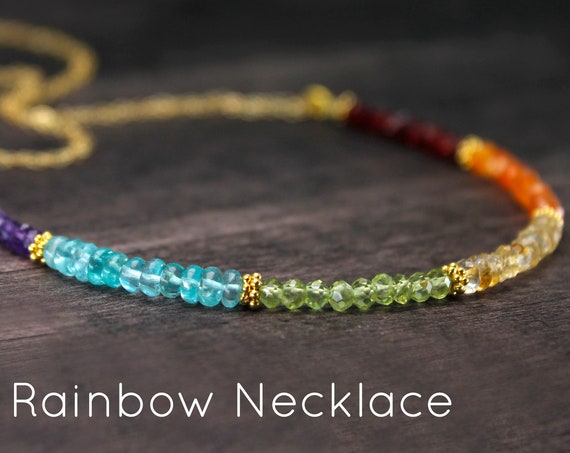 Rainbow Necklace. After the Rain. LGBTQ Jewelry, Gift of Hope. Colorful Multi-Gemstone Necklace in Gold, Rose Gold or Silver, N2864