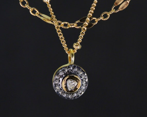 Pave Diamond Disc Necklace. A Short Multi Strand Circle Necklace that Symbolizes Completeness. Diamond Jewelry, N2844