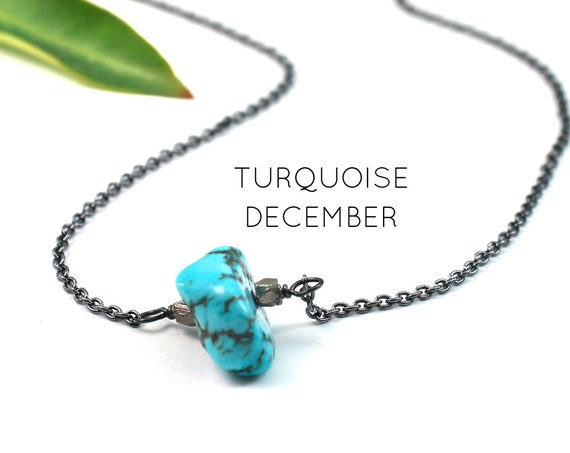 December Birthstone. Turquoise Necklace. Raw Stone Necklace. Healing Crystals. Gold Filled, Silver, Rose Gold. N1924