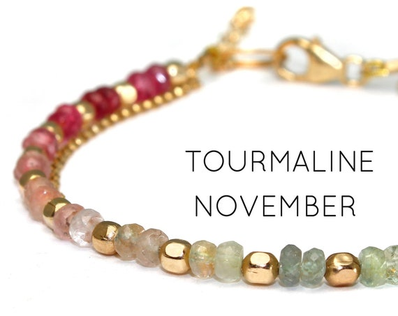 Tourmaline Charm Bracelet. November Birthstone. Healing Stones, Double Strand Bracelet. Gold Filled, Silver, Rose Gold. B2602