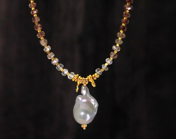 One of a Kind, OOAK. Unique Fireball Baroque Pearl Beaded Necklace. With Tundra Sapphire and Hill Tribe Silver Accents.