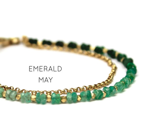 Emerald Charm Bracelet. May Birthstone. Healing Stones, Double Strand Bracelet. Dainty Jewelry. Gold Filled, Silver, Rose Gold. B2602